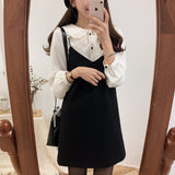 new S XL Spring  summer  2 piece suit Sleeveless black Vintage Women Dresses Female Girls Dress suits V neck Robe Femme Vestido
