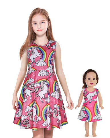 "Matching Dolls & Girls Dress,Unicorn Mermaid Butterfly Sleeveless Dresses for Kids ,18"" Doll Clothes by ModaIOO"