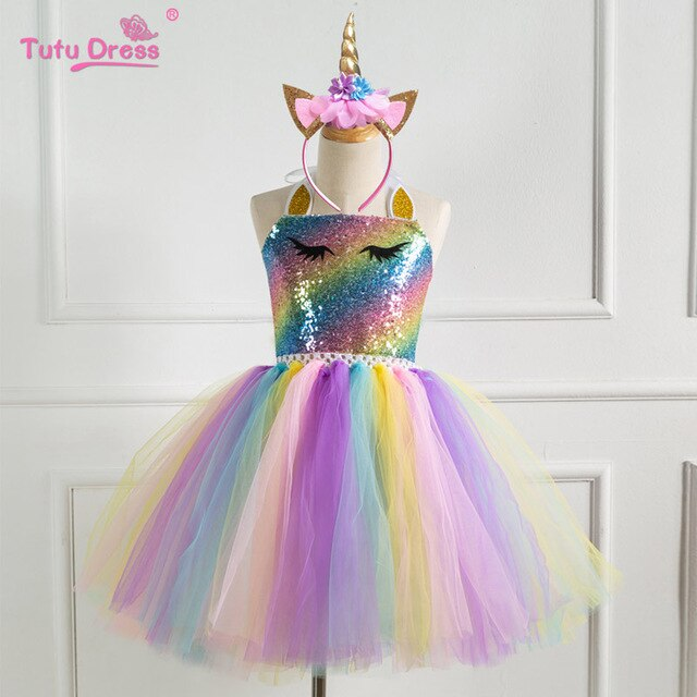 Unicorn Dress Girls with Sequin And Free Headwear