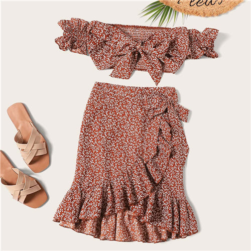 SHEIN Knotted Shirred Floral Bardot Top And Ruffle Wrap Skirt Set Boho Rust Asymmetrical Off Shoulder Summer Women Two Piece Set