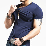 Men's Fitness T-shirts V neck Style