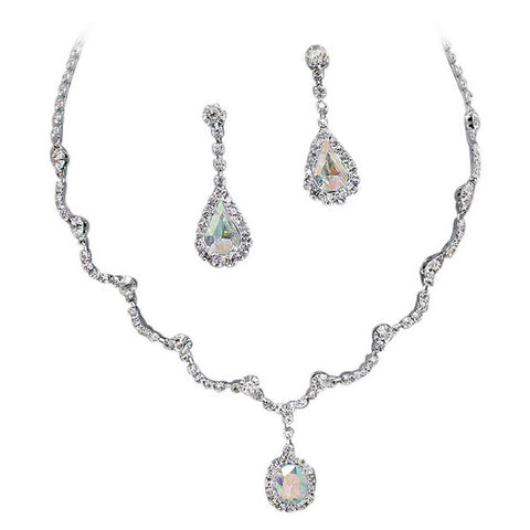 6e434cec0 Elegant Iridescent AB Scallop Y Drop Crystal Bridesmaid Bridal Necklace  Earring Set Wedding Bling O6