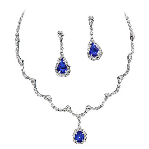 Elegant Blue Scallop Y Drop Crystal Bridesmaid Bridal Necklace Earring Set
