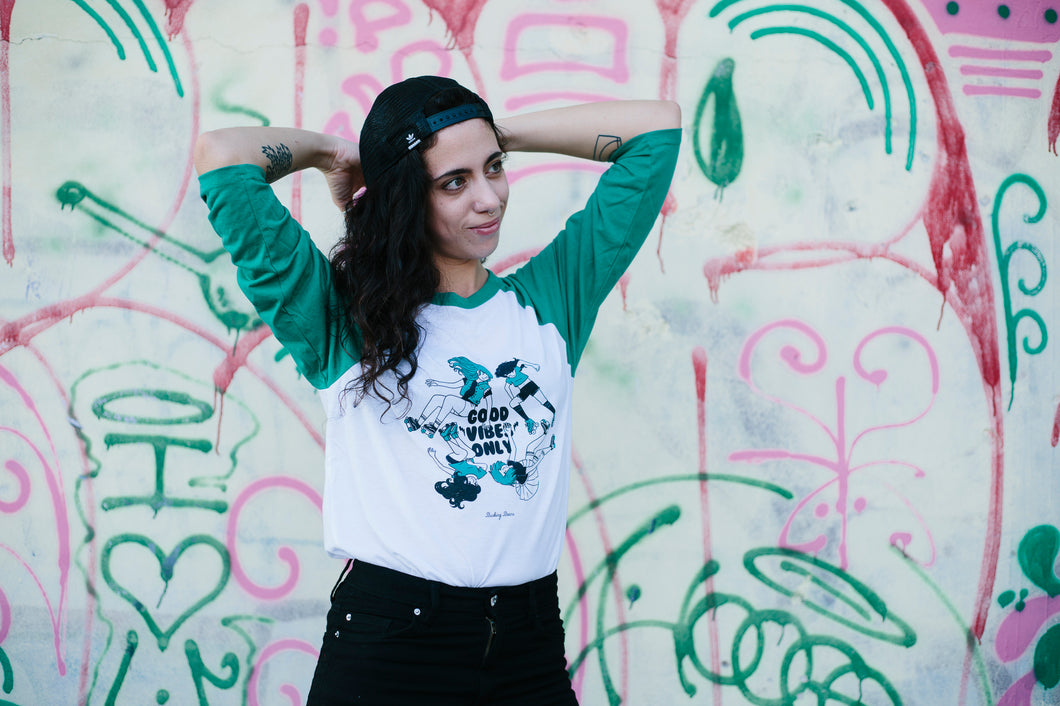 Roller Derby Shirt GOOD VIBES ONLY - Unisex White Tshirt with 3/4 Green Sleeves