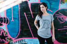 Roller Skating Loose T-shirt Grey Women WHEELS ARE GIRL'S BEST FRIENDS