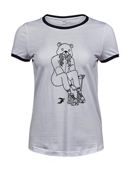 Tshirt White/Blue Navy Women Fuadruple x Busking Bears Roller Bear