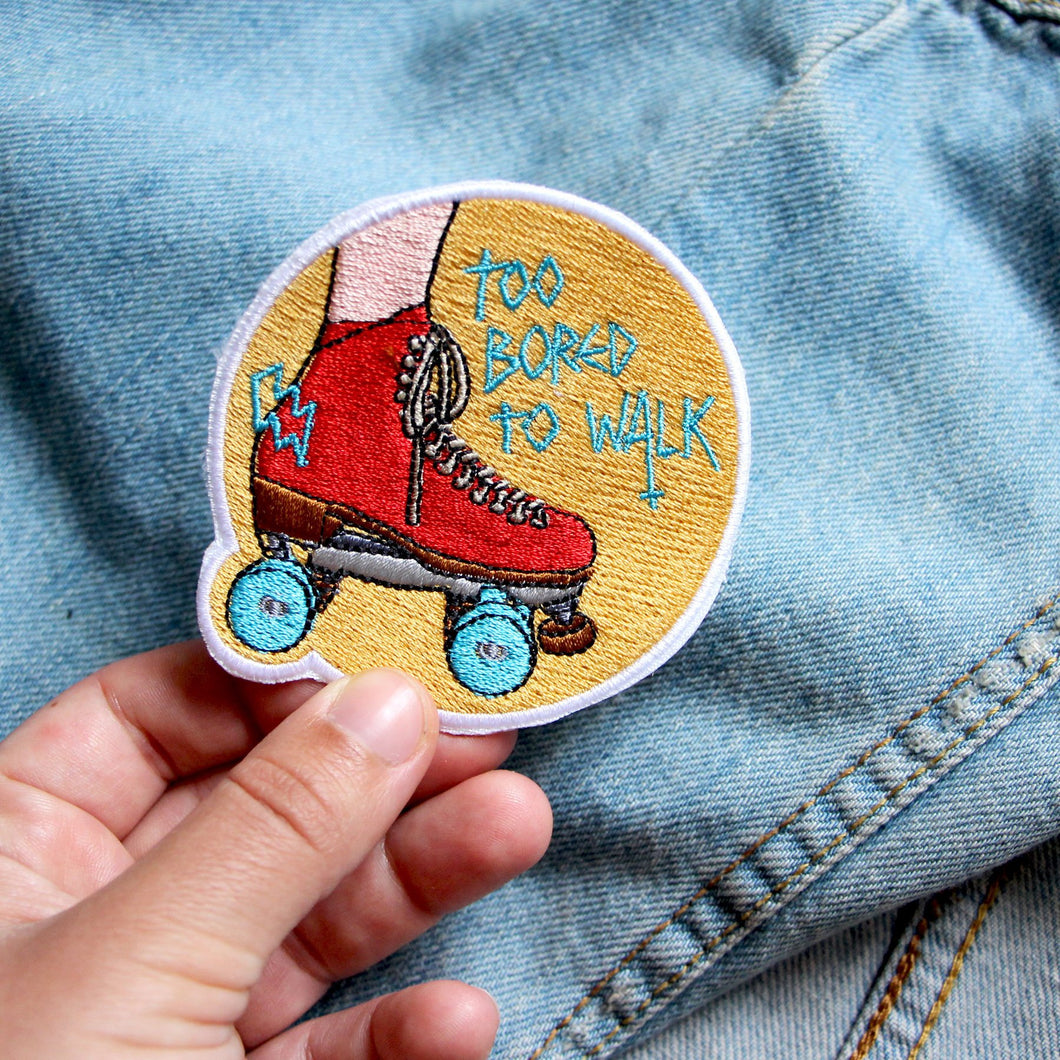 Roller Derby Roller Skating Patch TOO BORED TO WALK - YELLOW -