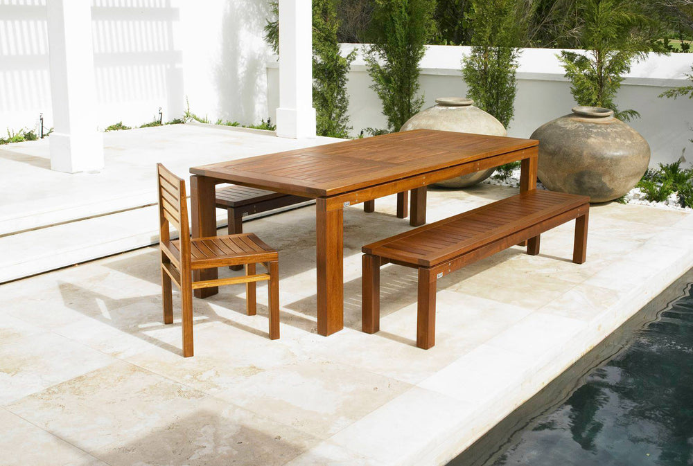 PETERSEN'S Lifestyle Furniture - Garden Patio Collection: Eight Seat Table with Three Seat Bench and Stacking Chair.