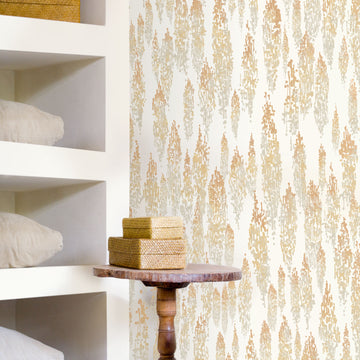 Rainbow Eucalyptus Wallpaper, Golden Tritone on Swan White