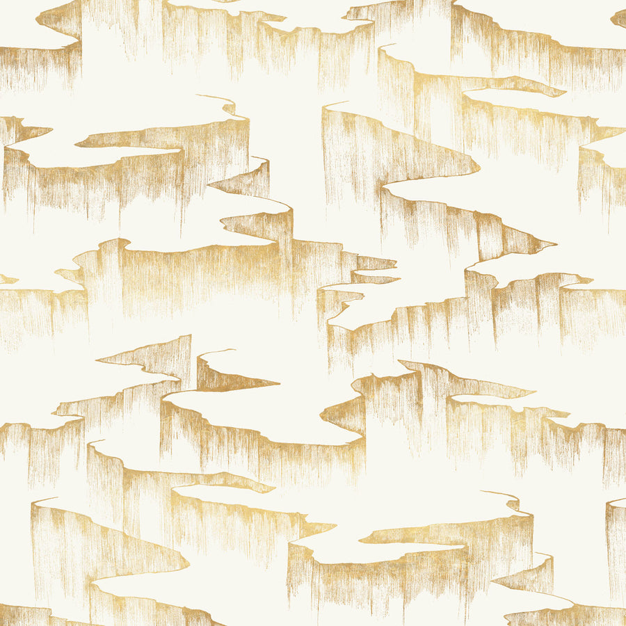 Rift Wallpaper, Metallic Gold on Bone White