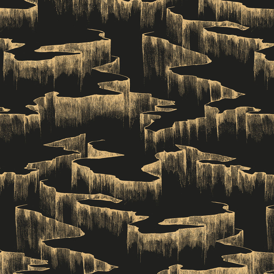 Rift Wallpaper, Metallic Gold on Matte Black