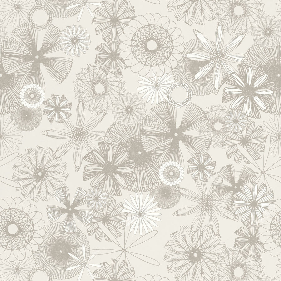 Spiro Trip Wallpaper, French Clay Gray with hints of Calcite White on Griege
