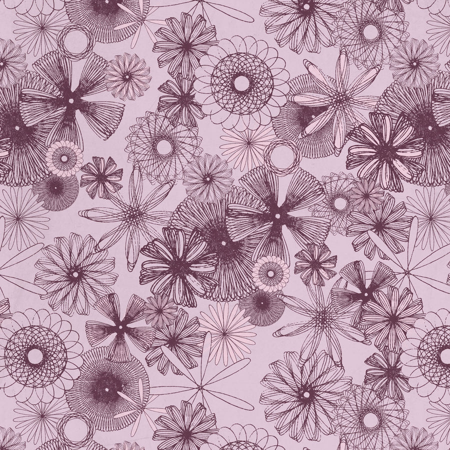 Spiro Trip Wallpaper, Black Raspberry & Strawberry Cream on Vintage Lilac