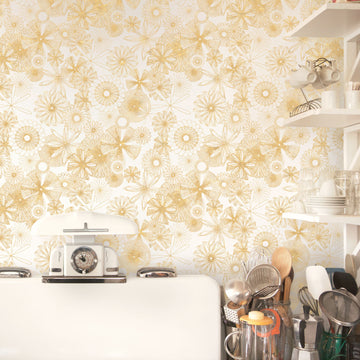 Spiro Trip Wallpaper, Metallic Gold on Bone White