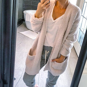 Long Sleeve Plush Fluffy Faux Fur Sweater