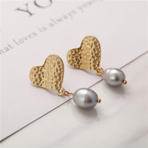 Geometric Pearl Long Drop Earrings