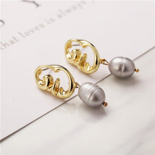 Load image into Gallery viewer, Geometric Pearl Long Drop Earrings