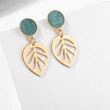Load image into Gallery viewer, Green Leaf Drop Earrings