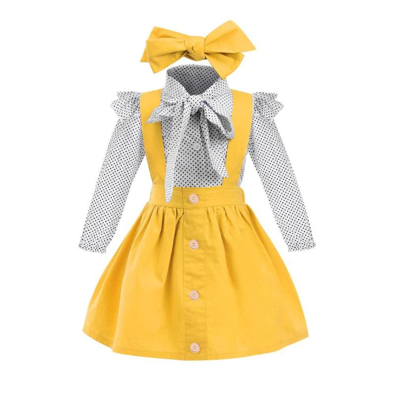 Girls Cute Dots Bow T Shirt Ruffle Dress