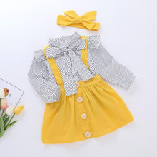 Load image into Gallery viewer, Girls Cute Dots Bow T Shirt Ruffle Dress