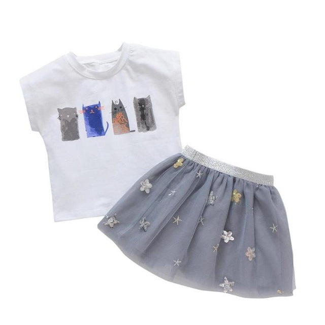 2pcs Kids girls Outfits Tops+Skirt