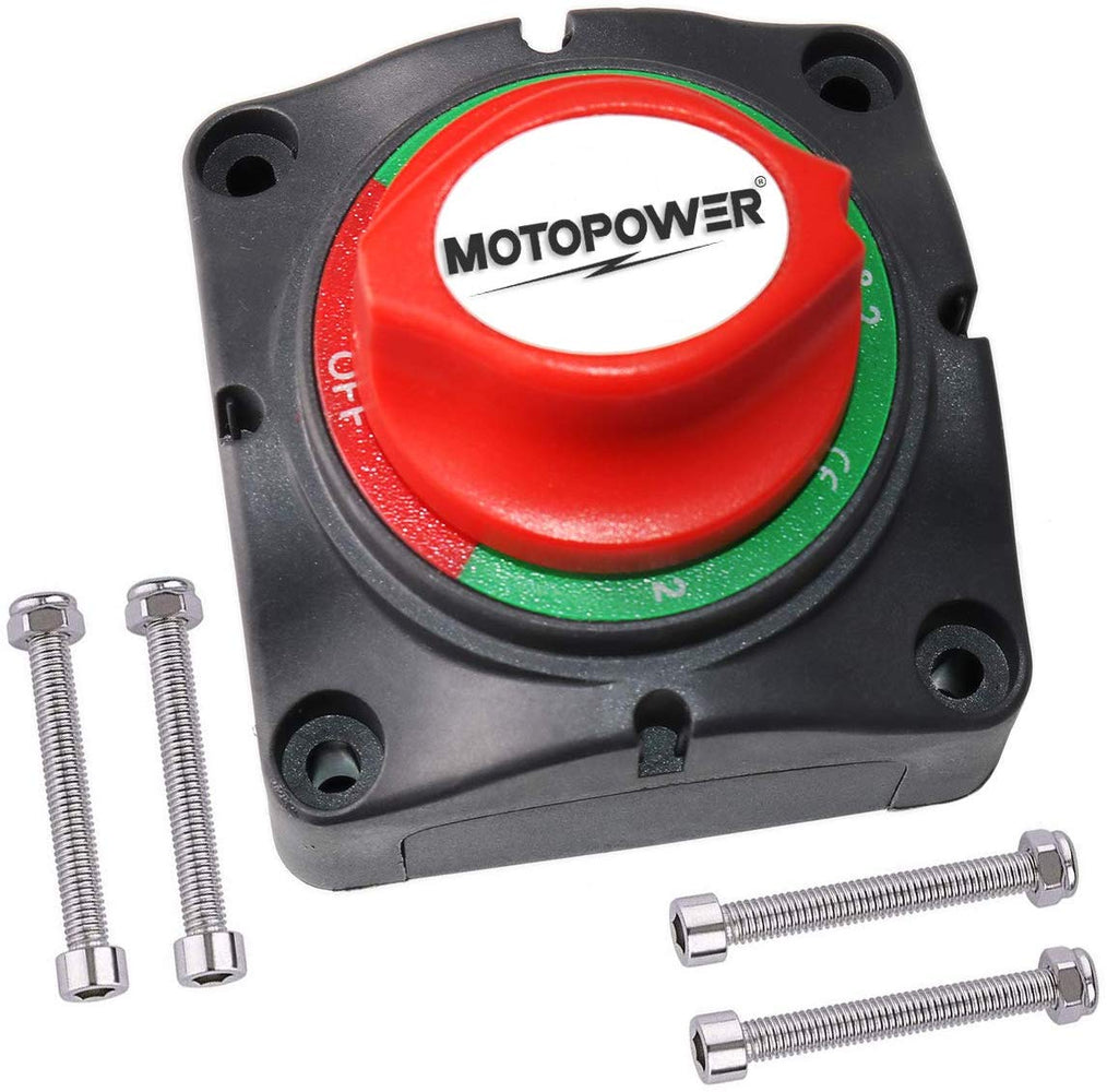 MOTOPOWER MP69157 Battery Switch Battery Isolator 1-2-Both-Off Battery Disconnect Master Cutoff Switch for Marine Boat Car RV ATV UTV Vehicle