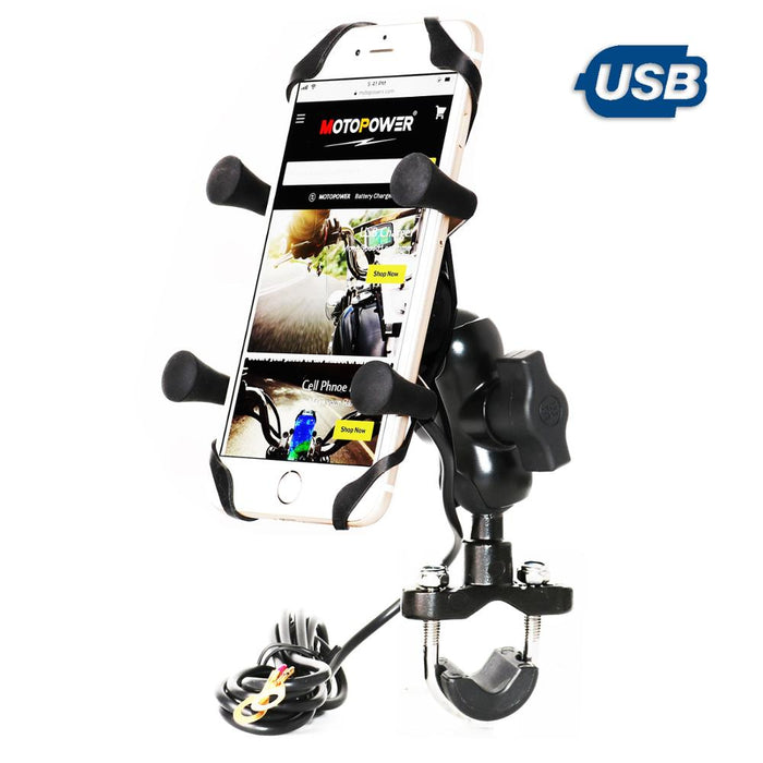 MP0622 Motorcycle Cell Phone Mount with USB Charger Alluminum Alloy Body