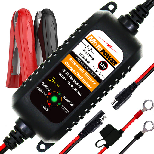 MOTOPOWER MP00205A 12V 800mA Fully Automatic Battery Charger/Maintainer for Cars, Motorcycles, ATVs, RVs, Powersports, Boat and More. Smart, Compact and Eco Friendly