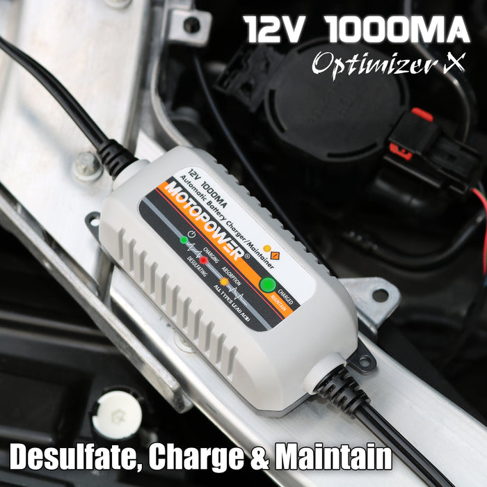 MOTOPOWER MP00205B 12V 1000mA Fully Automatic Battery Charger/Maintainer