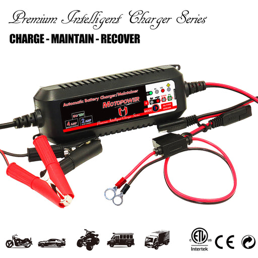 MOTOPOWER MP00207 6V / 12V 4AMP Automatic Smart Battery Charger Maintainer