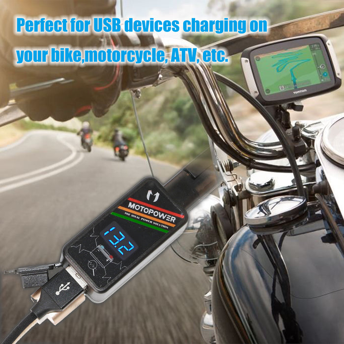 MP0620A 4.2Amp Motorcycle Dual USB Charger Kit SAE to USB Adapter with LED Voltmeter