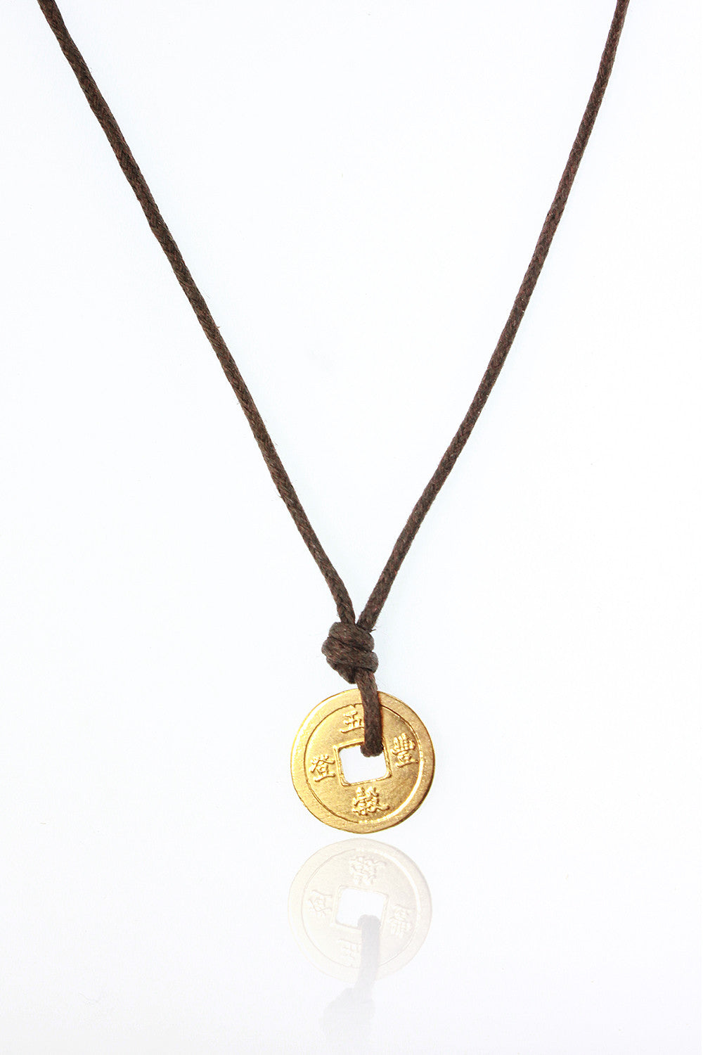 Chinese coin necklace gold on brown domo beads chinese coin necklace gold on brown mozeypictures Choice Image