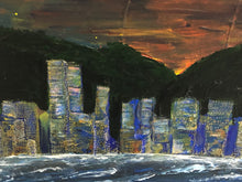 Skyline at Night acrylic painting