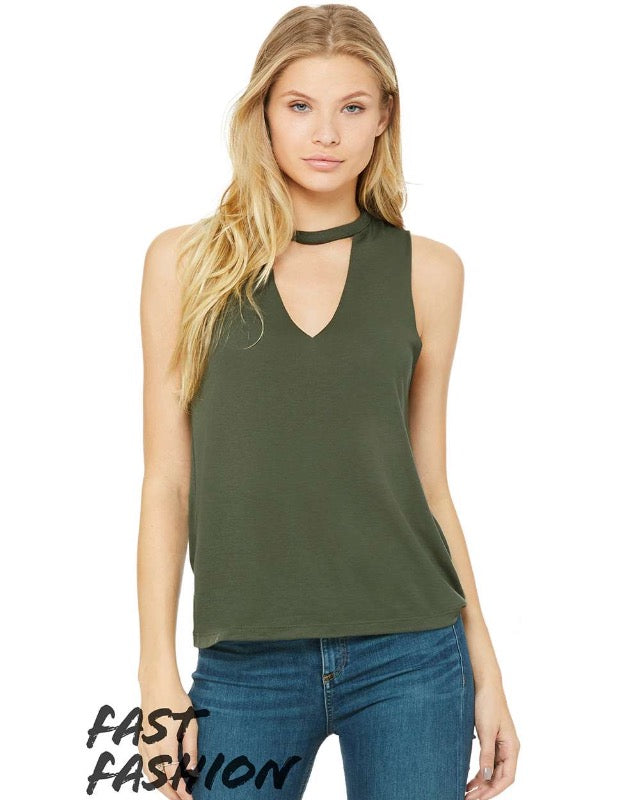 Olive Military Green Choker Sleeveless Tank Top