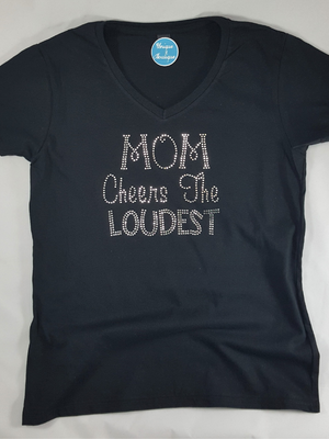 Mom Cheers The Loudest V-Neck Tee