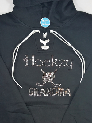 Hockey Grandma Lace-Up Hoodie - More Hoodie Color Options