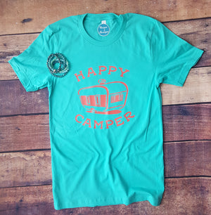 Happy Camper Teal  Graphic Tee