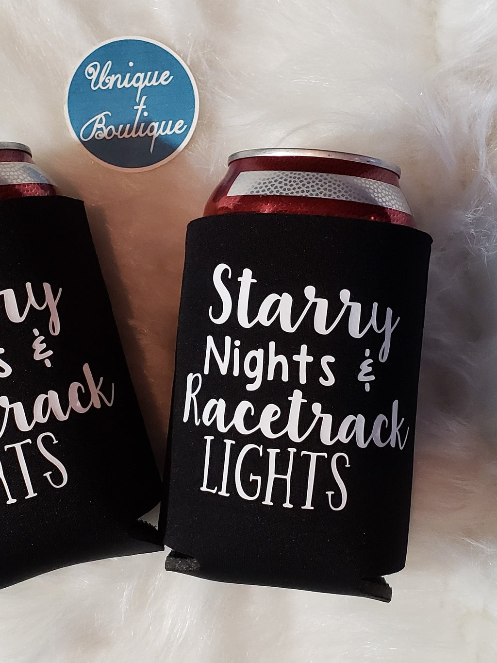 Starry Nights & Racetrack Lights Can Cooler