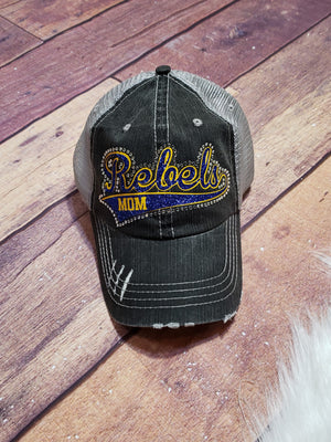 Rebels Mom Rhinestone Trucker Hat