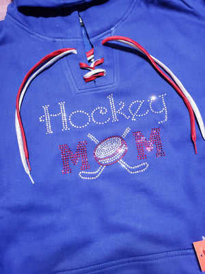 Hockey Mom Rhinestone Blue Lace-Up Hoodie - More Options