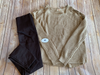 Khaki Criss Cross Shoulder Sweater