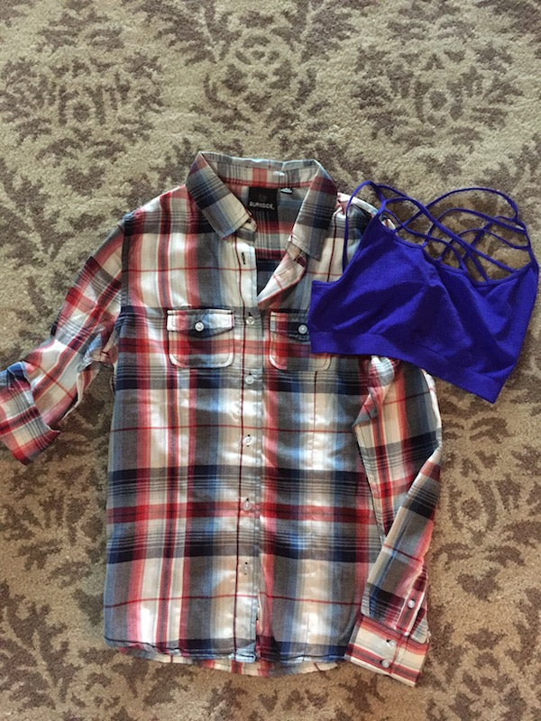Blue Red & White Plaid Long Sleeve Top