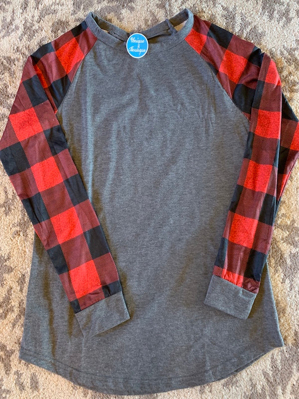 Red & Black Buffalo Plaid Raglan Long Sleeve Top