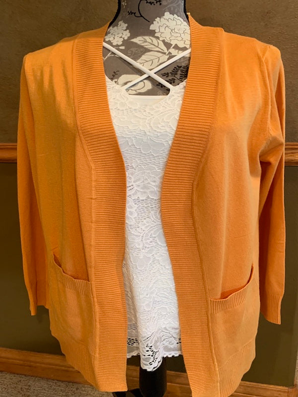 Open Front Cardigan in Ash Mustard