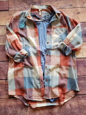Plaid Long Sleeve Top Coral & Blue