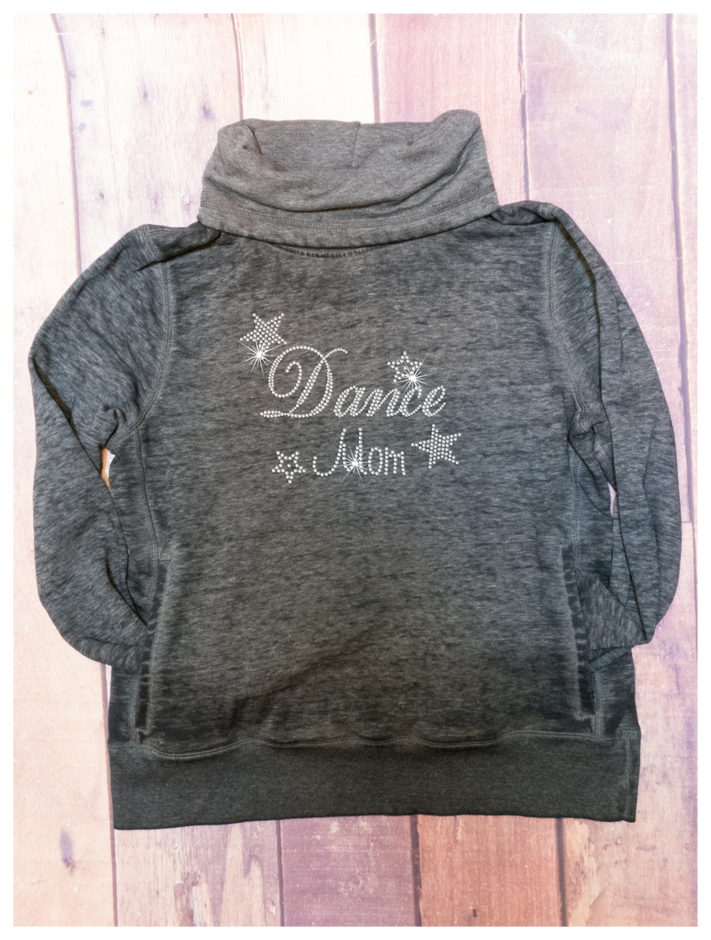 Dance Mom Rhinestone Black Cowl Neck