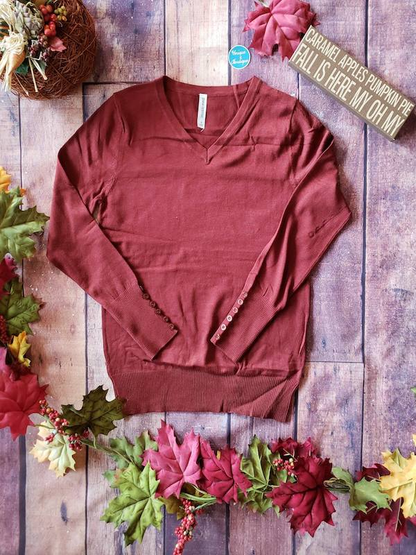 Brick Red V-Neck Sweater