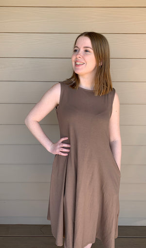 Classic Tank Dress in Mocha & Black