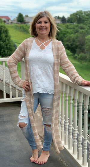 Lacy Criss-Cross Tank in Ivory & Mauve