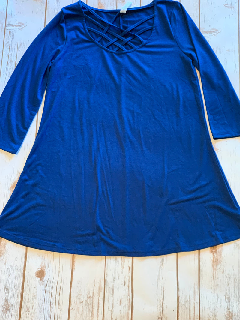 Caged Front 3/4 Length Sleeve Top in Sapphire